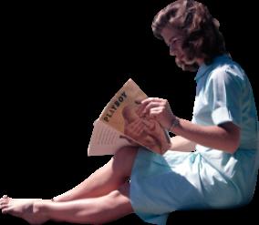 woman read vintage magazine