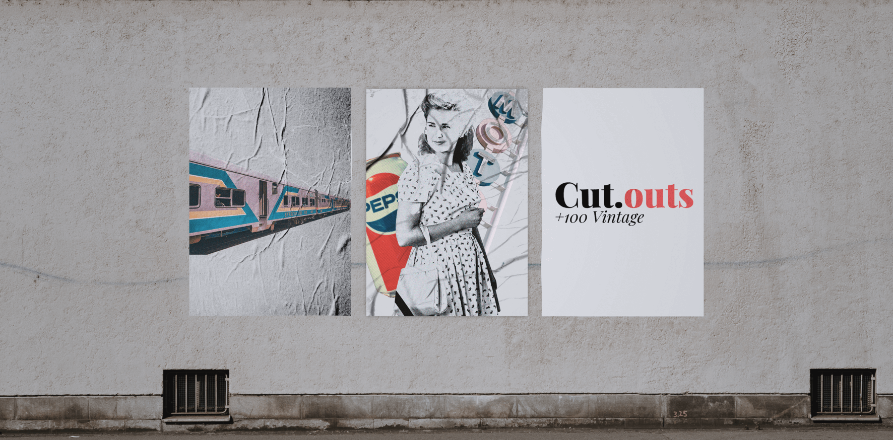 poster cutout street mockup