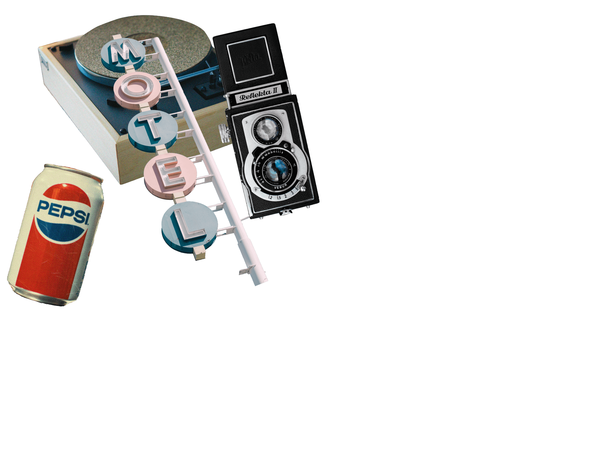 train rockole radio casette polaroid girl isolate silhoutte